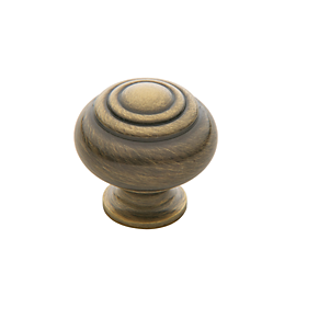 Baldwin Ring Deco Cabinet Knob (4445, 4446, 4447) shown in Satin Brass & Black