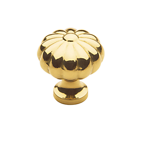 Baldwin Melon Cabinet Knob (4457, 4458, 4459) in Polished Brass (030)