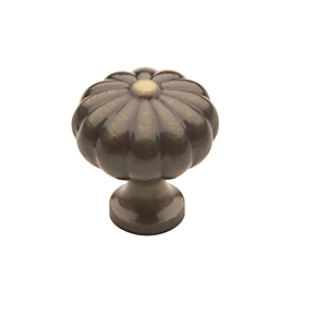 Baldwin Melon Cabinet Knob (4457, 4458, 4459) Satin Brass & Black (050)