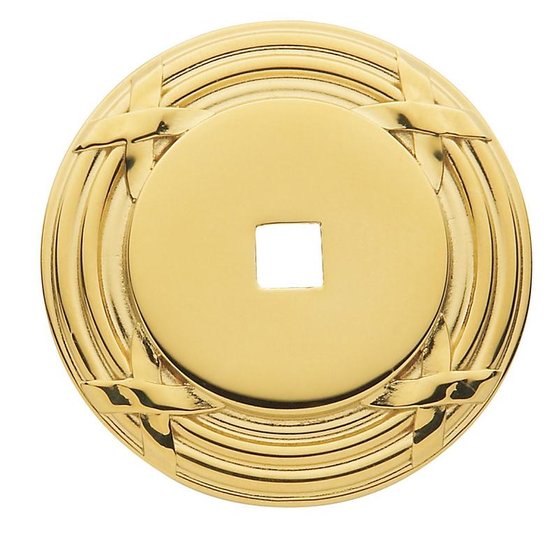 Baldwin Round Edinburgh Cabinet Knob Back Plate (4613) shown in Polished Brass