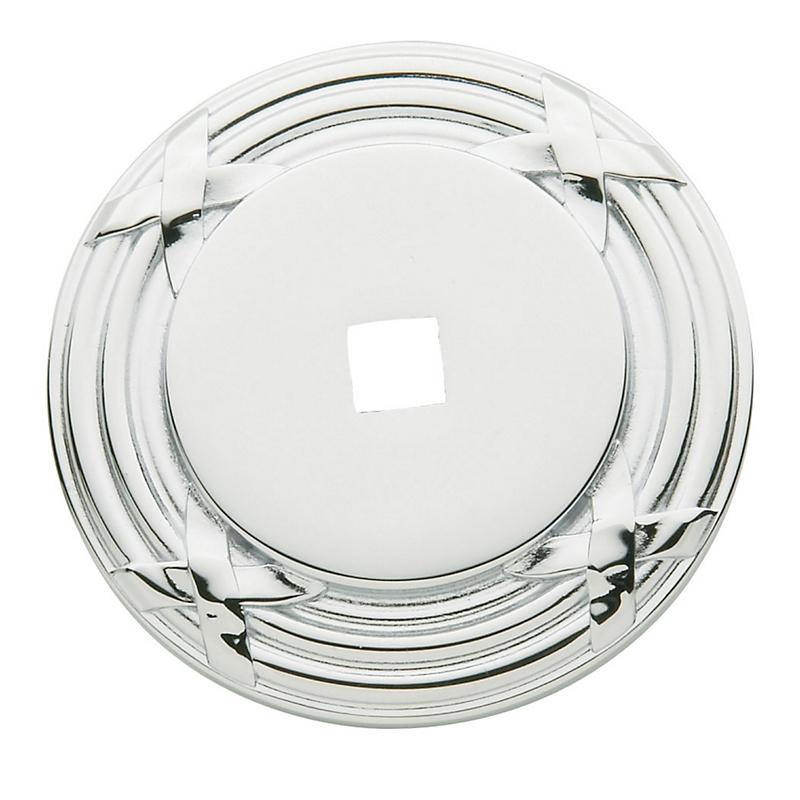 Baldwin Round Edinburgh Cabinet Knob Back Plate (4613) shown in Polished Chrome