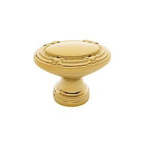 Baldwin Oval Edinburgh Cabinet Knob (4631, 4632) shown in Polished Brass (030)