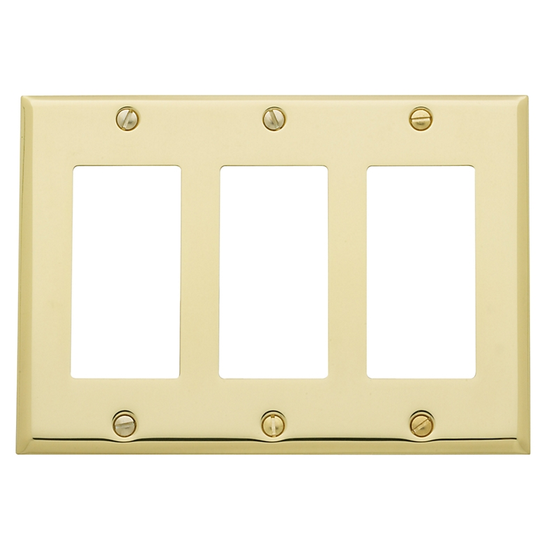 Baldwin Beveled Edge Triple GFCI Switch Plate
