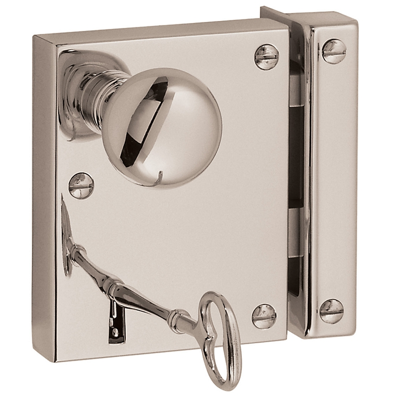 Baldwin 5704 Small Horizontal Rim Lock in Lifetime Polished Nickel (055)