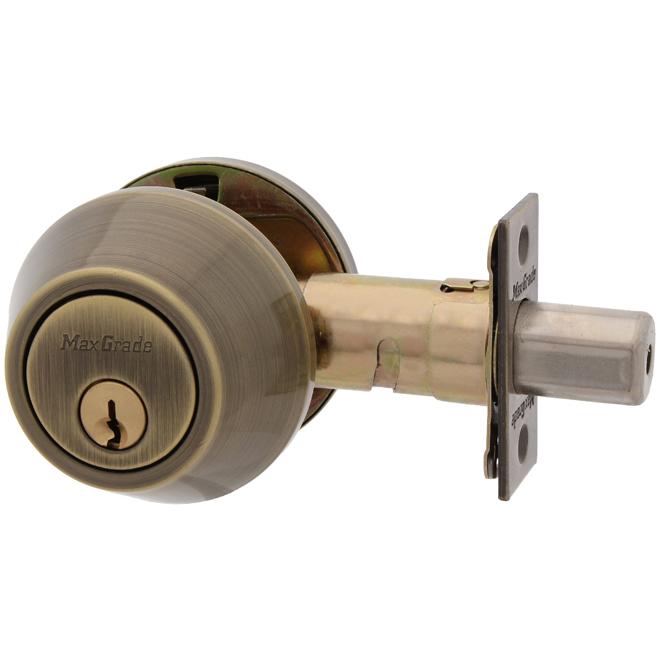 MaxGrade 650-5 Double Cylinder Deadbolt Antique Brass