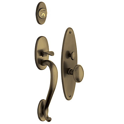 Baldwin Estate 6560 Lexington Mortise Handleset Satin Brass and Black (050)