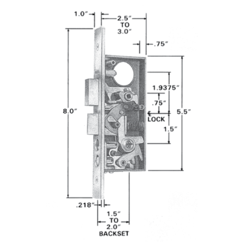 Baldwin Estate 6832 Residential Entrance Mortise Lock Box