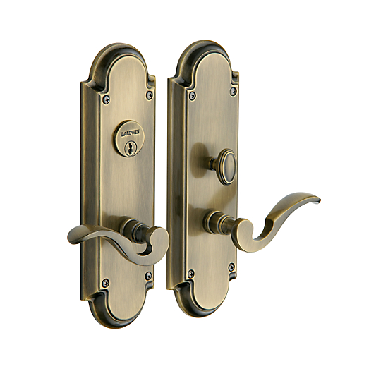 BBaldwin Estate 6951 Stanford Mortise Entrance Set in Satin Brass & Black
