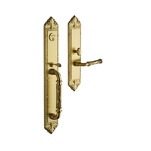 Baldwin Estate 6952 Edinburgh Full Plate Mortise Handleset in Satin Brass (040)