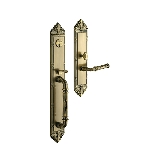 Baldwin Estate 6952 Edinburgh Full Plate Mortise Handleset Satin Brass & Black