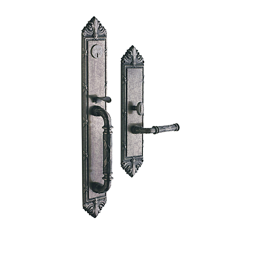 Baldwin Estate 6952 Edinburgh Full Plate Mortise Handleset Distressed Nickel
