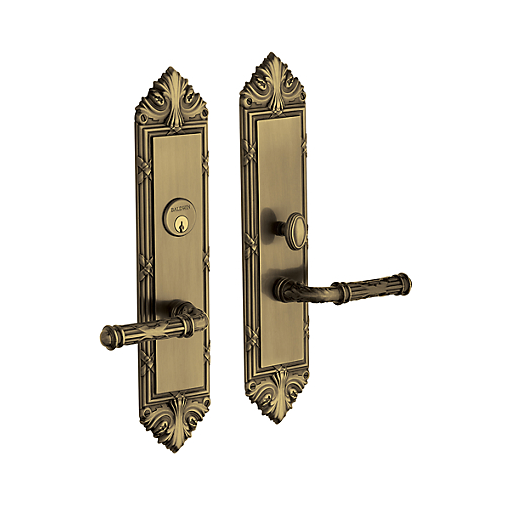 Baldwin Estate 6962 Fenwick Mortise Entrance Set in Satin Brass & Black