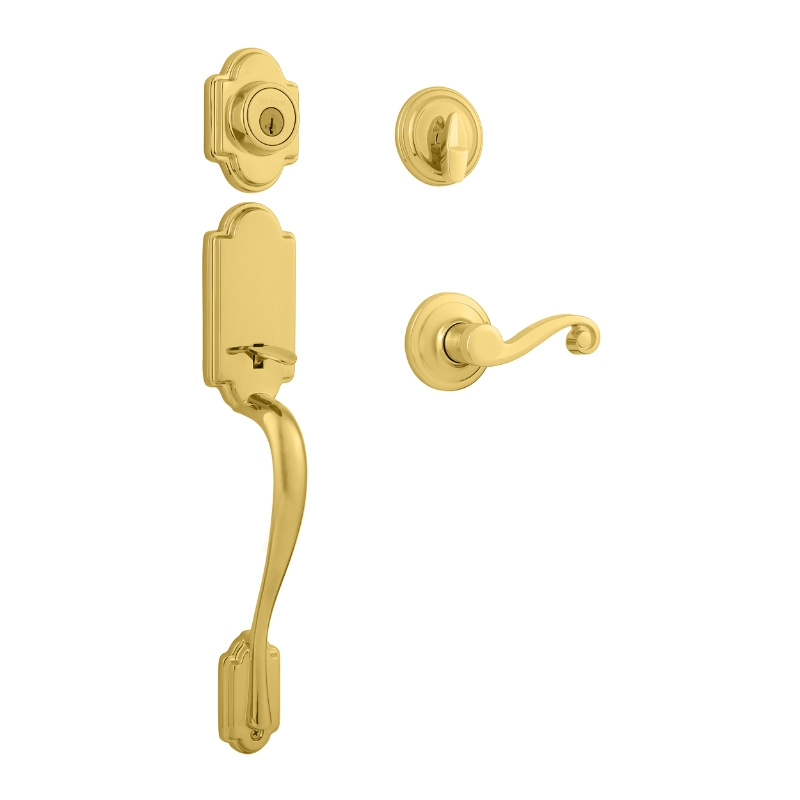 Kwikset Arlington Handleset shown with the Lido Lever in Lifetime Polished Brass