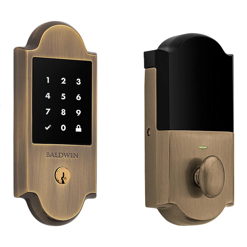 Baldwin Estate 8235050ZW Z-Wave Boulder Touchscreen Deadbolt Satin Brass and Black