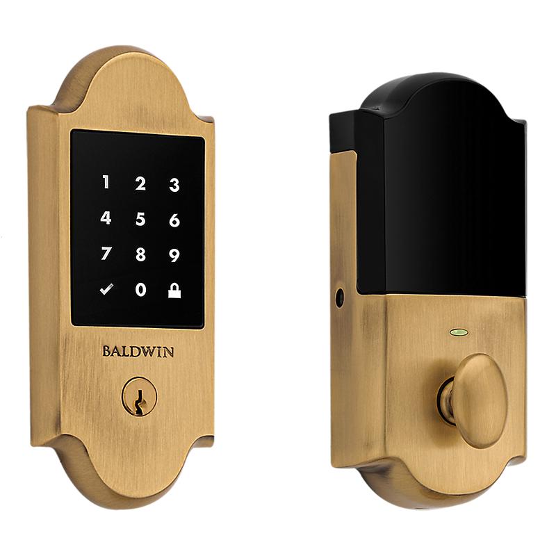 Baldwin Estate 8235060ZW Z-Wave Boulder Touchscreen Deadbolt Satin Brass and Brown