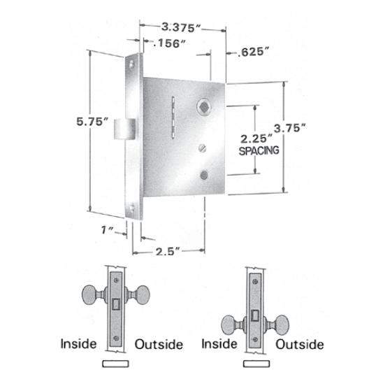 Baldwin Estate 8530 & 8535 Small Case Interior Mortise Lock - Passage Function