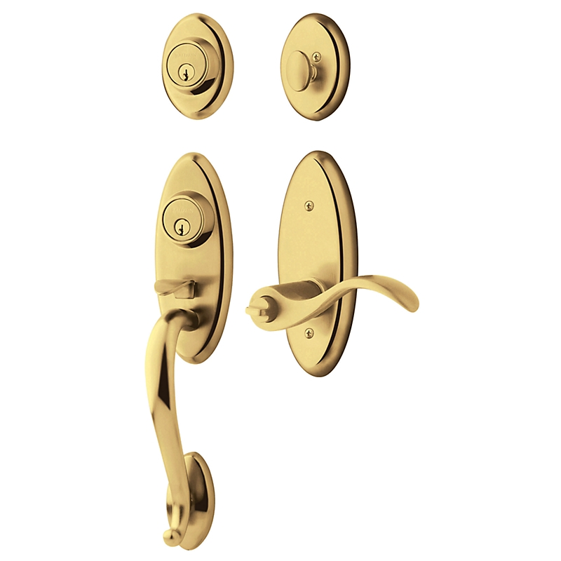 Baldwin 85345 Landon Handleset shown w/Wave Lever in Lifetime Polished Brass