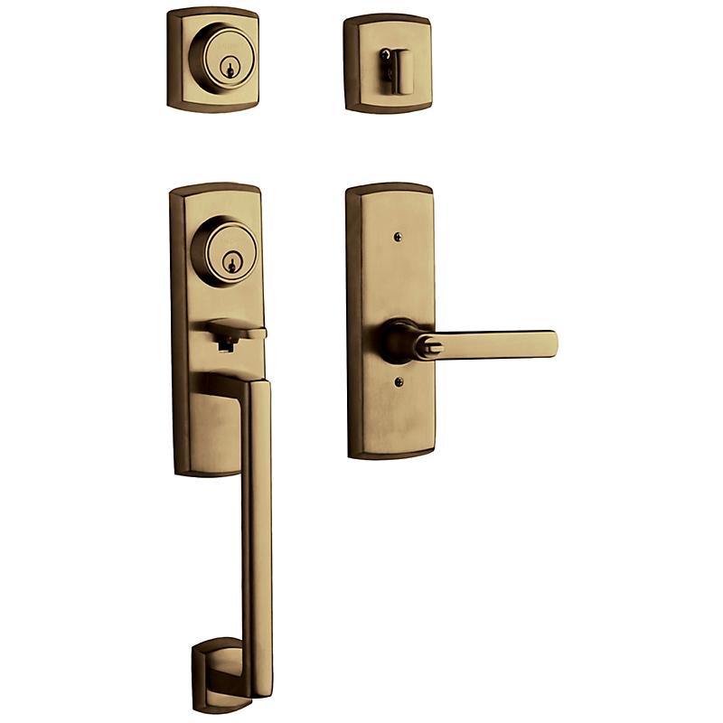 Baldwin 85385 Soho Handleset w/Soho Lever in Satin Brass & Black (050)