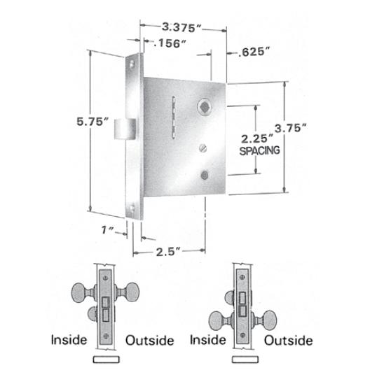 Baldwin Estate 8540 Amp 8545 Small Case Interior Mortise Lock Privacy Function Low