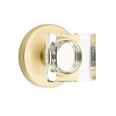 Emtek Bronze Modern Square Crystal Door Knob Set with Disk Rose Satin Brass