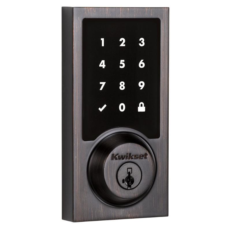 Kwikset 915CNT Contemporary Touchscreen Electronic Deadbolt with Smartkey Venetian Bronze
