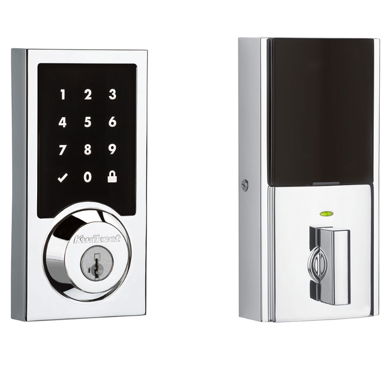 Kwikset 915CNT Contemporary Touchscreen Electronic Deadbolt with Smartkey Polished Chrome