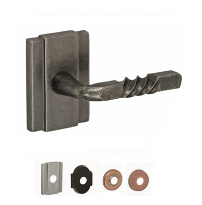 Fusion Hardware Square Twist Lever with Blacksmith Rose in Antique Pewter