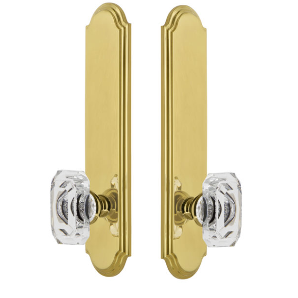 Grandeur Arc Tall Plate with Choice of Knob or Lever Polished Brass