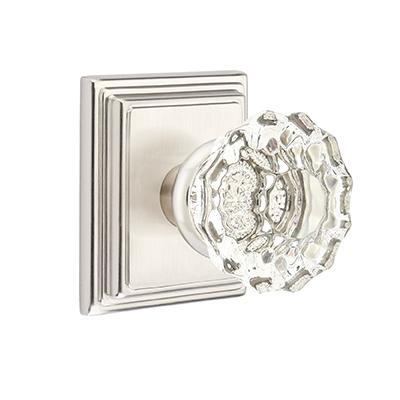 Emtek Astoria Clear Door knob with Wilshire Rose Satin Nickel (US15)