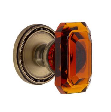 Grandeur Baguette Amber Crystal Door Knob Set | Low Price Door Knobs