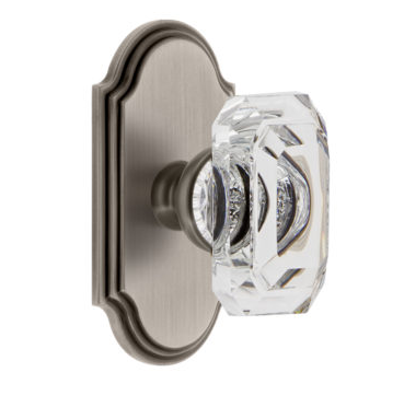 Grandeur Baguette Clear Crystal Door Knob Set with Arc Short Plate Antique Pewter