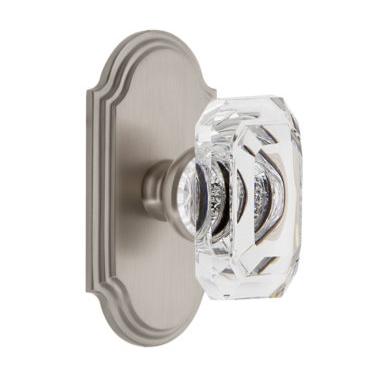 Grandeur Baguette Clear Crystal Door Knob Set with Arc Short Plate Satin Nickel