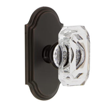 Grandeur Baguette Clear Crystal Door Knob Set with Arc Short Plate Timless Bronze