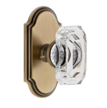 Grandeur Baguette Clear Crystal Door Knob Set with Arc Short Plate Vintage Brass