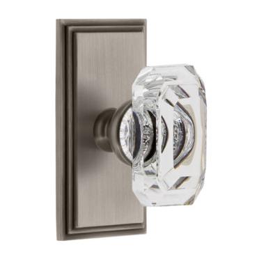 Grandeur Baguette Clear Crystal Door Knob Set with Carre Short Plate Antique Pewter