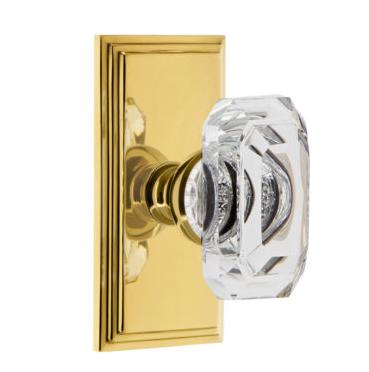 Grandeur Baguette Clear Crystal Door Knob Set with Carre Short Plate Polished Brass