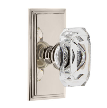 Grandeur Baguette Clear Crystal Door Knob Set with Carre Short Plate Polished Nickel