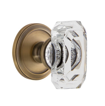 Grandeur Baguette Clear Crystal Door Knob Set With Circulaire Rose Vintage  Brass