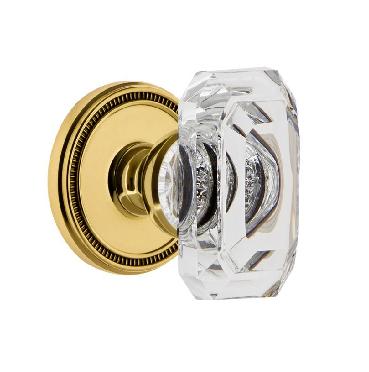 Grandeur Baguette Clear Crystal Door Knob Set with Soleil Rose Lifetime Brass