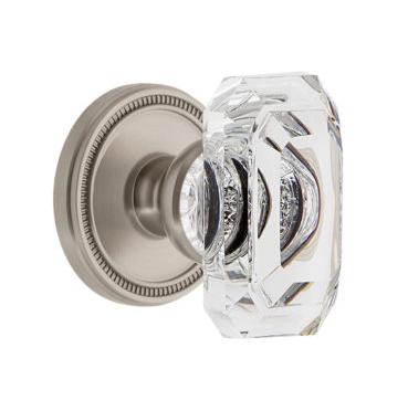 Grandeur Baguette Clear Crystal Door Knob Set with Soleil Rose Satin Nickel