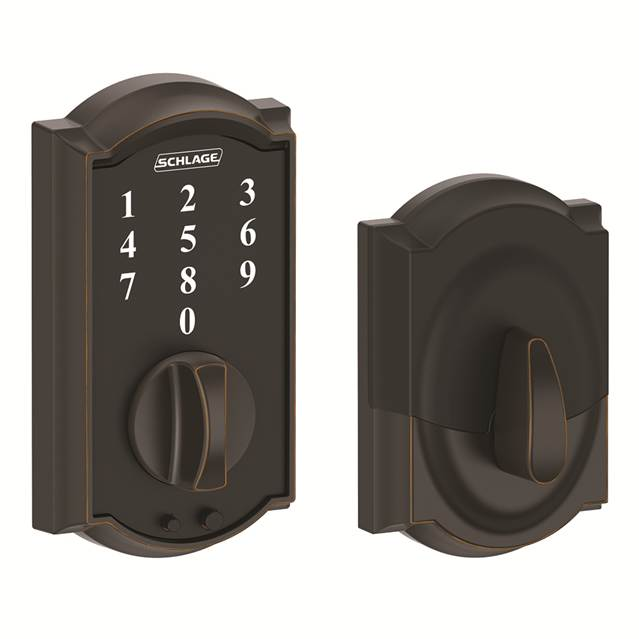 Schlage BE375CAM716 Camelot Touch Deadbolt Aged Bronze
