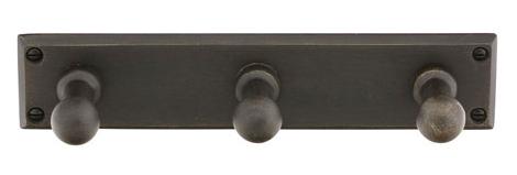 Emtek 2307 Sandcast Bronze Three Hook with Rectangular Plate Medium Bronze