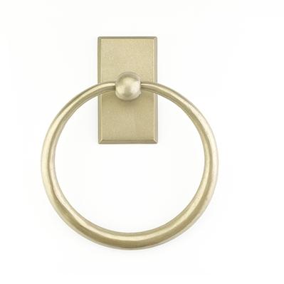 Emtek 2301 Sandcast Bronze Towel Ring with #3 Rose Tumbled White Bronze (TWB)