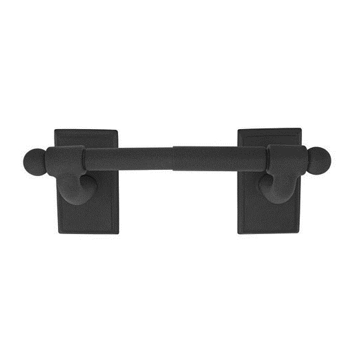Emtek 2504 Wrought Steel Spring Rod Paper Holder with #3 Rose Flat Black