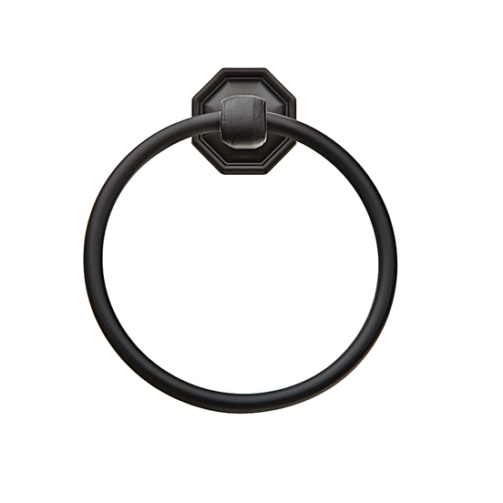 Emtek 2701 Tuscany Bronze Towel Ring with #15 Rose Flat Black Patina (FB)