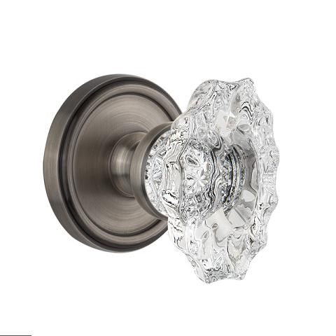 Grandeur Biarritz Crystal Door Knob Set with Georgetown Rose Antique Pewter