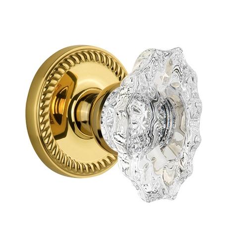 Grandeur Biarritz Crystal Door Knob Set with Newport Rose Polished Brass