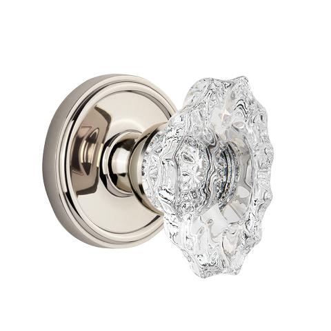 Grandeur Biarritz Crystal Door Knob Set with Georgetown Rose Polished Nickel
