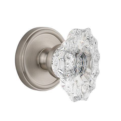 Grandeur Biarritz Crystal Door Knob Set with Georgetown Rose Satin Satin Nickel