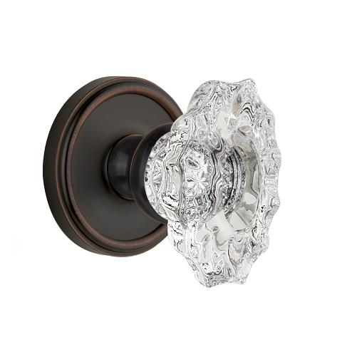 Grandeur Biarritz Crystal Door Knob Set with Georgetown Rose Timeless Bronze